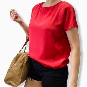 Vintage Boxy Red Blouse Top Short Sleeve 80's